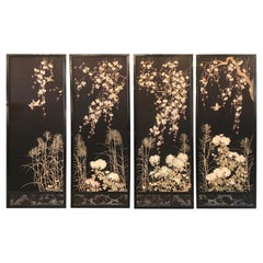 Magnificent Set of 4 Antique Japanese Silk Needlework Framed Panels, circa 1890