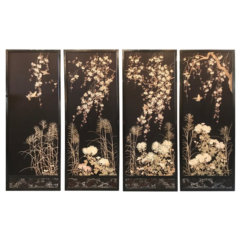 Magnificent Set of 4 Antique Japanese Silk Needlework Framed Panels, circa 1890 For Sale