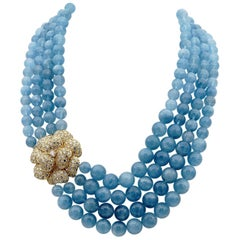 Giovane Aquamarine 8.20 Carat Diamond High End Necklace