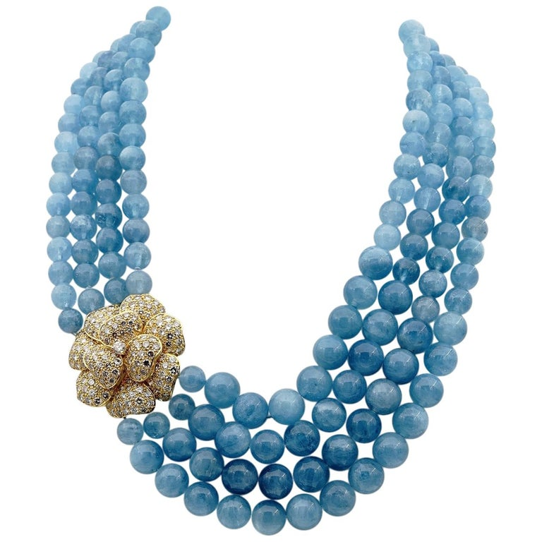 Giovane Aquamarine 8.20 Carat Diamond High End Necklace For Sale