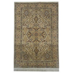 Magnificent Silk Rug, Turkish Rug Oriental Kayseri, Handmade Carpet Area Rug