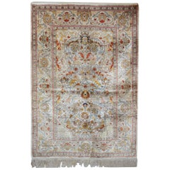 Magnificent Antique Rugs, Handmade Carpet Silk Rug, Turkish Hereke Oriental Rugs