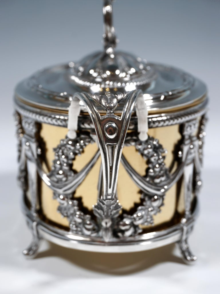 Hand-Crafted Magnificent Silver Sugar Bowl with Gilding, Adolphe Boulenger Paris, around 1890 For Sale
