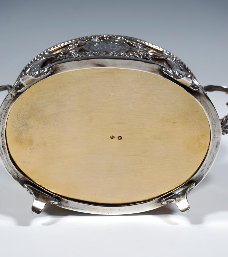 Magnificent Silver Sugar Bowl with Gilding, Adolphe Boulenger Paris, around 1890 For Sale 1