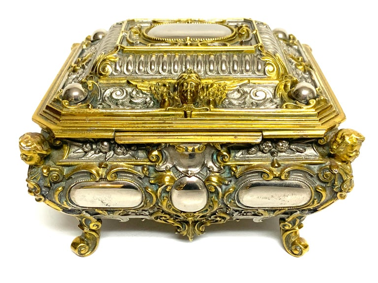 Magnificent Silvered Bronze and Ormolu Jewelry/Table Box For Sale 3