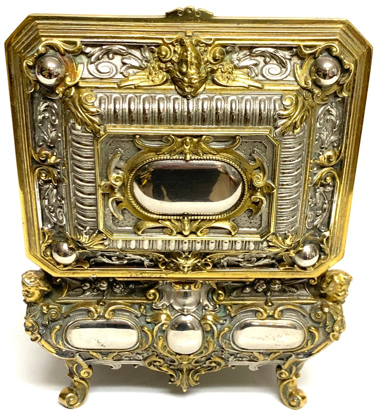 Magnificent Silvered Bronze and Ormolu Jewelry/Table Box For Sale 4