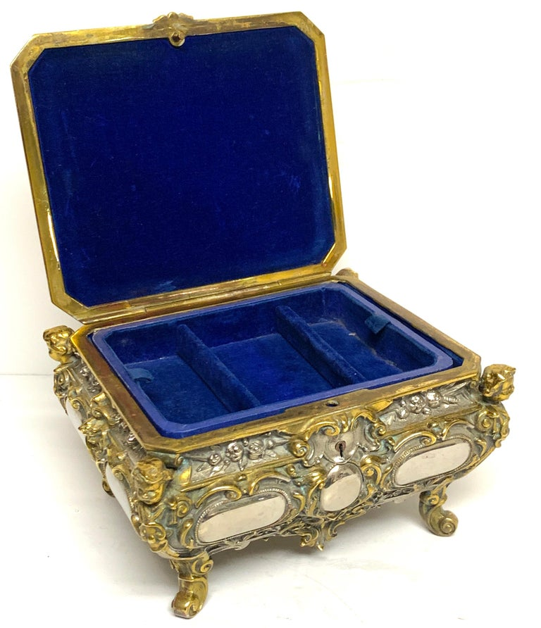 Magnificent Silvered Bronze and Ormolu Jewelry/Table Box For Sale 5