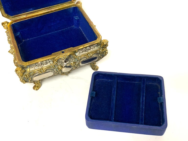 Magnificent Silvered Bronze and Ormolu Jewelry/Table Box For Sale 6
