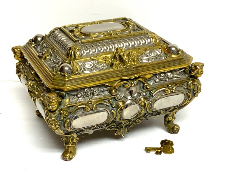 French Magnificent Silvered Bronze and Ormolu Jewelry/Table Box For Sale