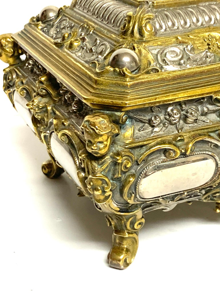 20th Century Magnificent Silvered Bronze and Ormolu Jewelry/Table Box For Sale