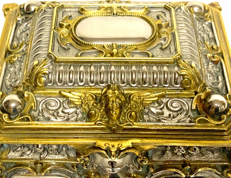Velvet Magnificent Silvered Bronze and Ormolu Jewelry/Table Box For Sale