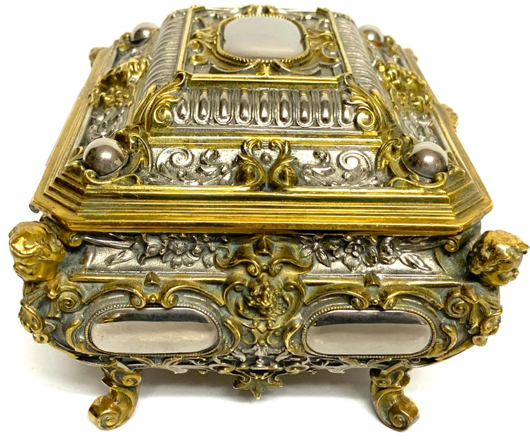 Magnificent Silvered Bronze and Ormolu Jewelry/Table Box For Sale 2