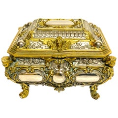 Magnificent Silvered Bronze and Ormolu Jewelry/Table Box