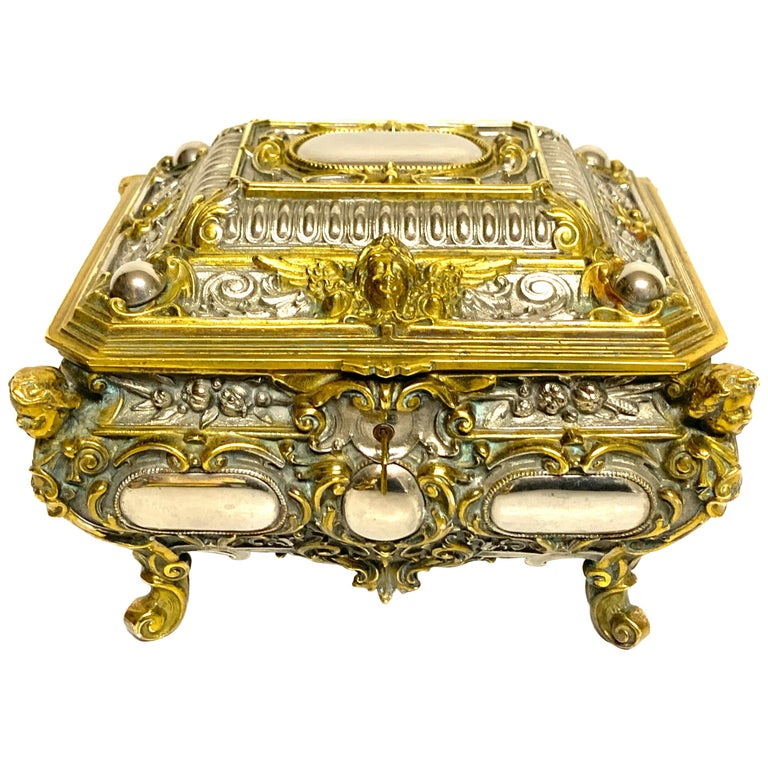 Magnificent Silvered Bronze and Ormolu Jewelry/Table Box For Sale