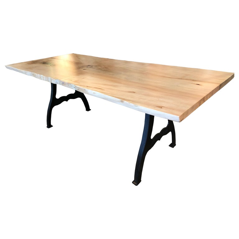 Magnificent Slab Live Edge Maple Dining Table For Sale At