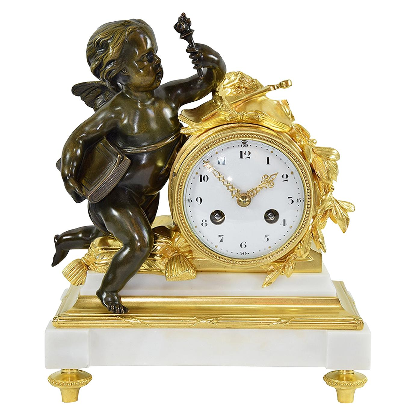 Magnificent Small Clock in the Louis XVI Style