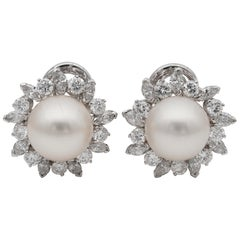 Magnificent South Sea Pearl 3.20 Carat Diamond Vintage Earrings