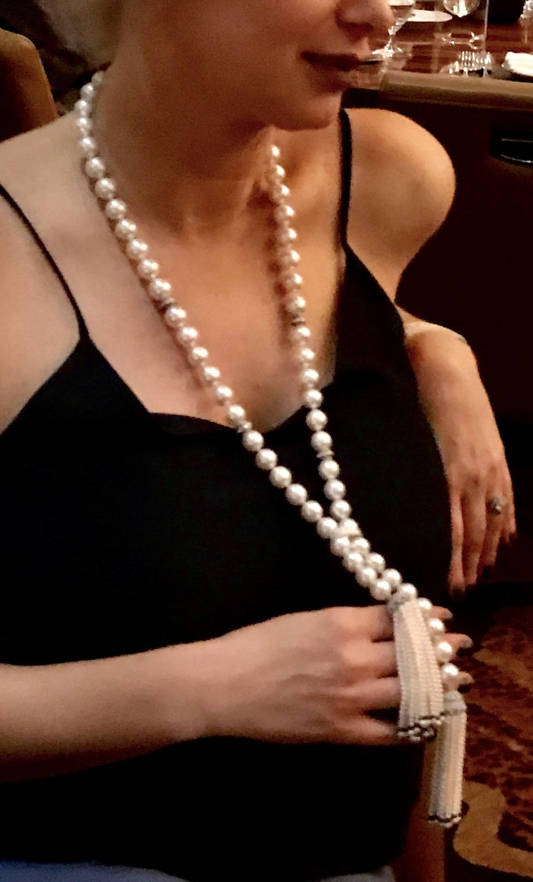 Round Cut Magnificent South Sea Pearl, Sapphire and Diamond Tassel Necklace For Sale