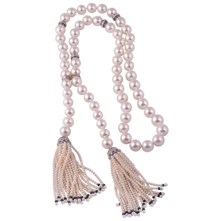 Magnificent South Sea Pearl, Sapphire and Diamond Tassel Necklace For Sale