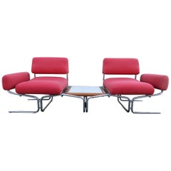 Magnificent Space-Age Tubular Chrome 2-Seat Sofa with Table Ingmar Relling Style