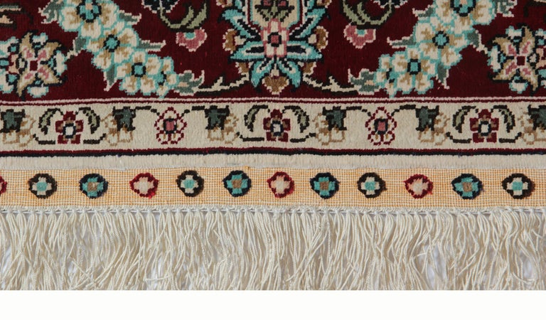 Tabriz Magnificent Square Vintage Chinese Herekeh Silk Rug with Traditional Area Rug For Sale