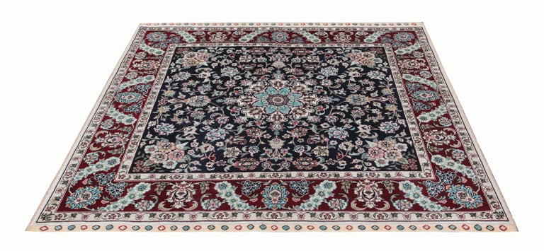 Vegetable Dyed Magnificent Square Vintage Chinese Herekeh Silk Rug with Traditional Area Rug For Sale