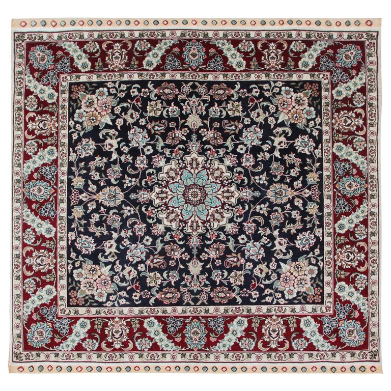 Magnificent Square Vintage Chinese Herekeh Silk Rug with Traditional Area Rug For Sale