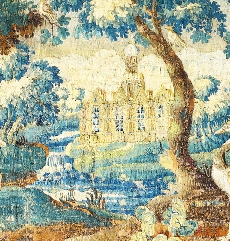 Large early English Aubusson tapestry, 17th century.