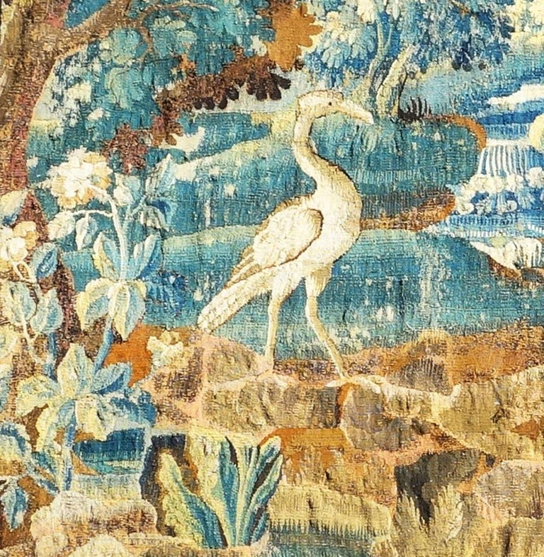 Magnificent Tapestry, Early English Aubusson, 17th Century In Fair Condition For Sale In Los Angeles, CA