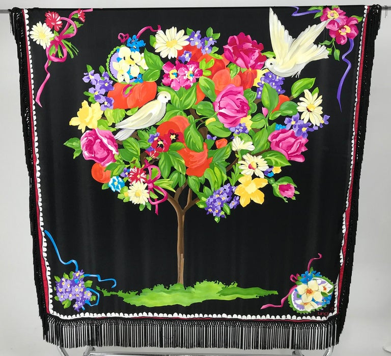 Black Ungaro Magnificent Silk Satin White Dove in Flower Tree Shawl 53 x 53  For Sale
