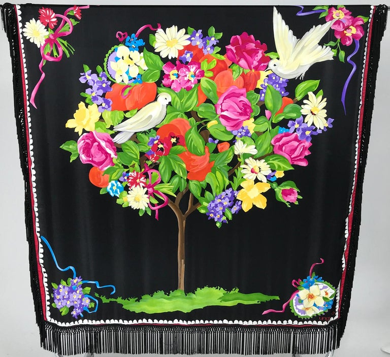 Women's or Men's Ungaro Magnificent Silk Satin White Dove in Flower Tree Shawl 53 x 53  For Sale