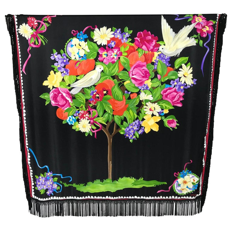 Ungaro Magnificent Silk Satin White Dove in Flower Tree Shawl 53 x 53  For Sale