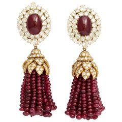 Magnificent Van Cleef & Arpels Ruby Diamond Day and Night Tassel Earrings