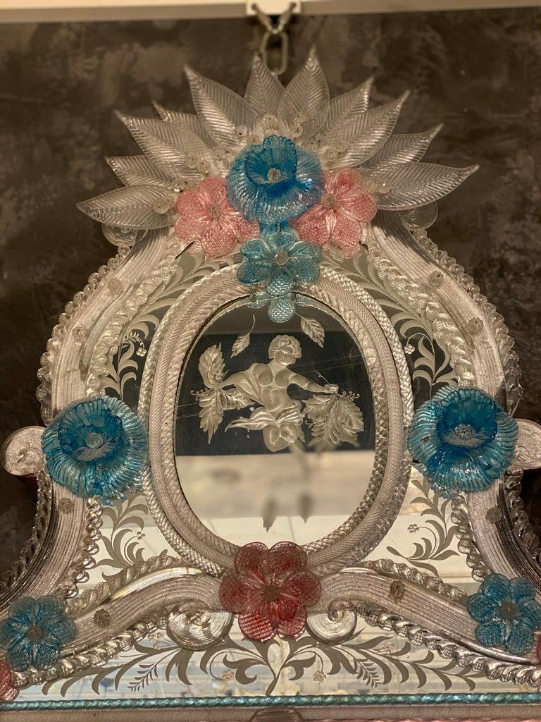 Italian Magnificent Venetian Murano Glass Mirror