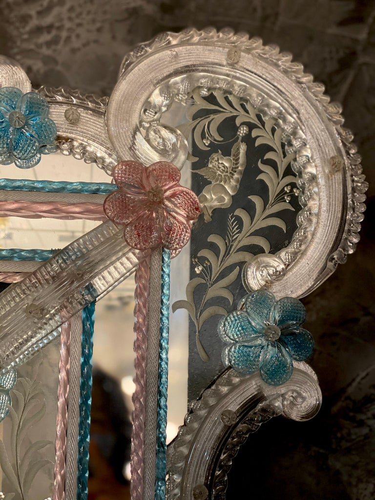 Magnificent Venetian Murano Glass Mirror In Excellent Condition In Rome, IT