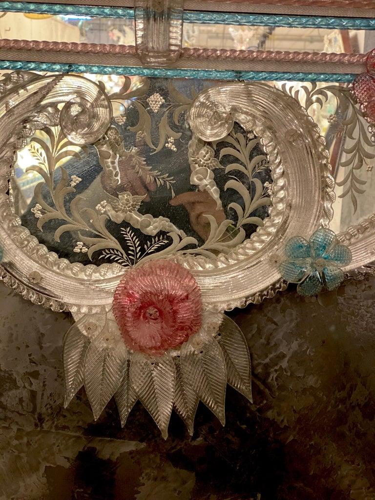 Blown Glass Magnificent Venetian Murano Glass Mirror