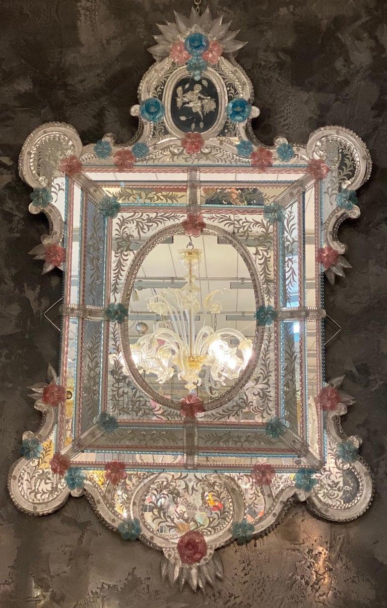 Magnificent Venetian Murano Glass Mirror 1