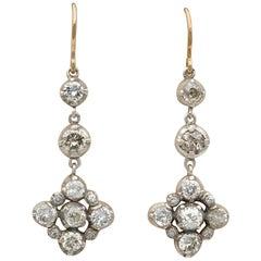 Magnificent Victorian 4.60 Carat Diamond Drop Earrings