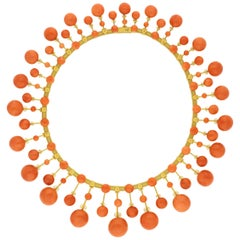 Magnificent Victorian Antique Gold and Coral Fringe Necklace, circa 1860