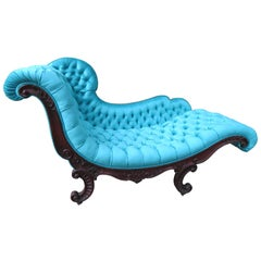 Magnificent Victorian John Henry Belter Attributed Rosewood Tufted Chaise Longue