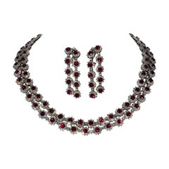 Magnificent Vietnamese Round Ruby Necklace and Matching Earrings 18 Karat Gold