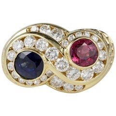 Magnificent Vintage Untreated Sapphire Ruby Diamond Cross over Ring