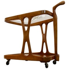 Magnificent Walnut Bar Cart with Star-Etched Glass by Cesare Lacca, 1950s Italy