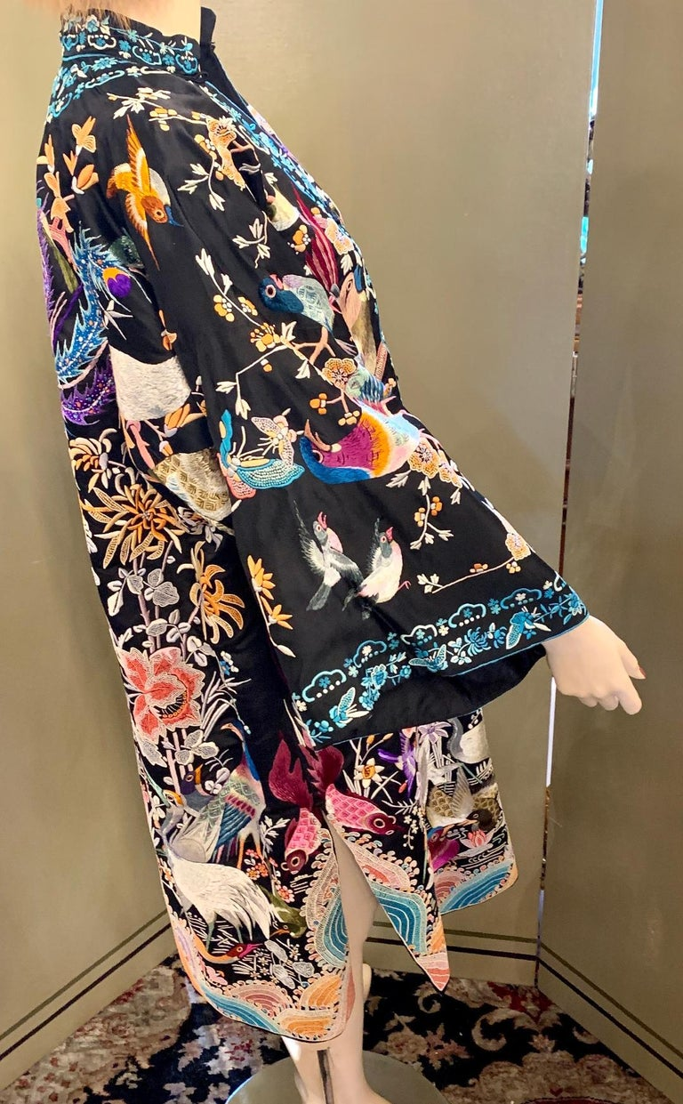 Black Magnificent Work of Art Hand Embroidered Chinese Silk Peacock Evening Coat