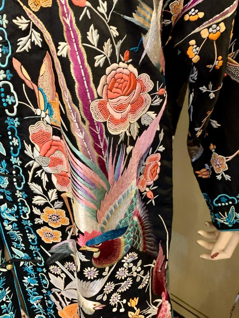 Magnificent Work of Art Hand Embroidered Chinese Silk Peacock Evening Coat 1
