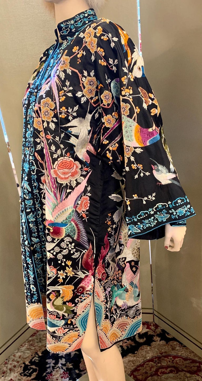 Magnificent Work of Art Hand Embroidered Chinese Silk Peacock Evening Coat 2