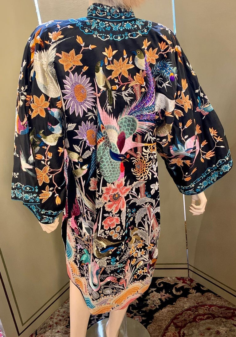 Magnificent Work of Art Hand Embroidered Chinese Silk Peacock Evening Coat 3