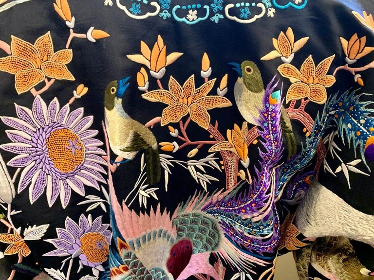 Magnificent Work of Art Hand Embroidered Chinese Silk Peacock Evening Coat 4