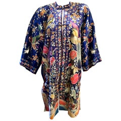Magnificent Work of Art Hand Embroidered Chinese Silk Peacock Evening Coat