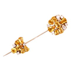 Magnificent Yellow Sapphire and Diamond Pin in 18k Yellow Gold
